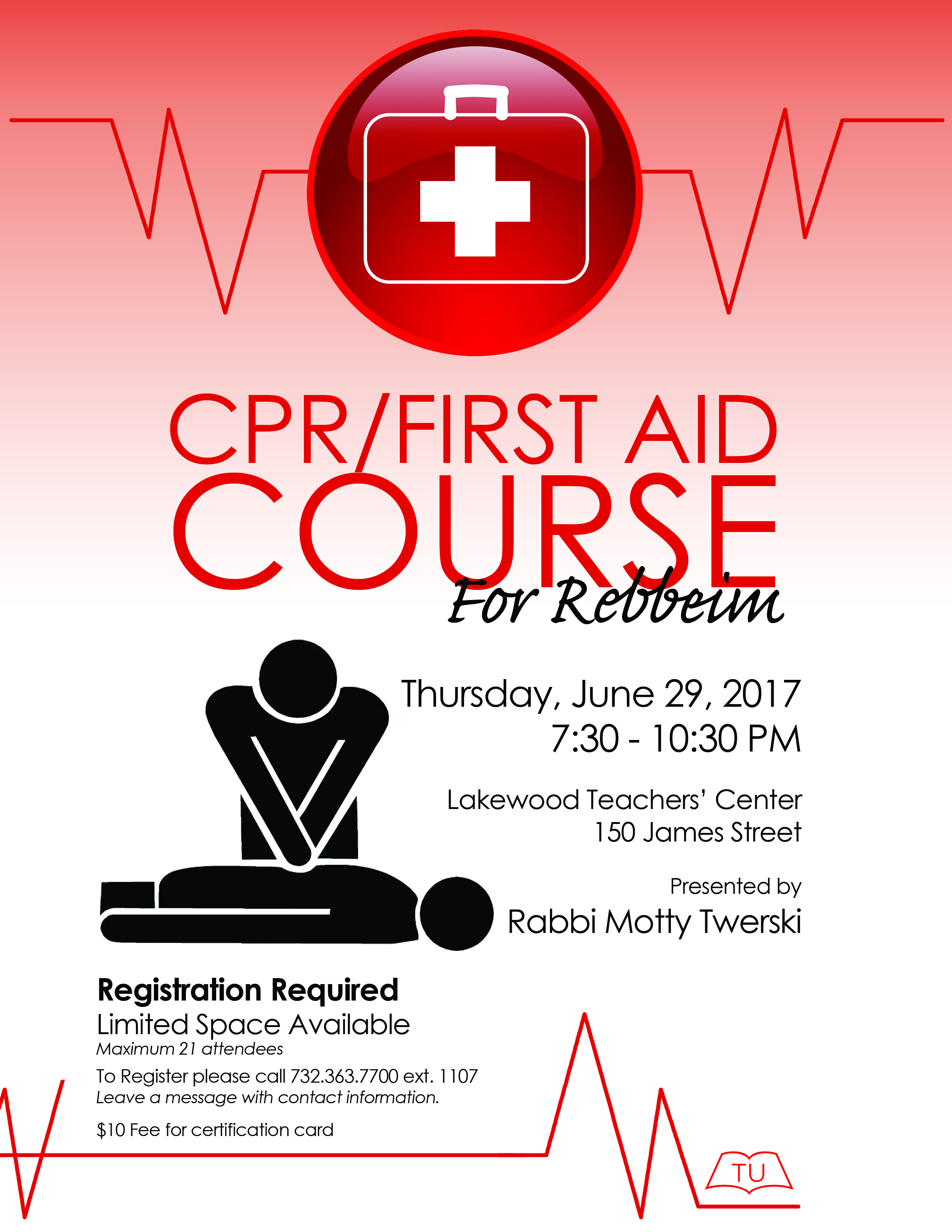 CPR - FIRST AID COURSE FOR LAKEWOOD REBBEIM