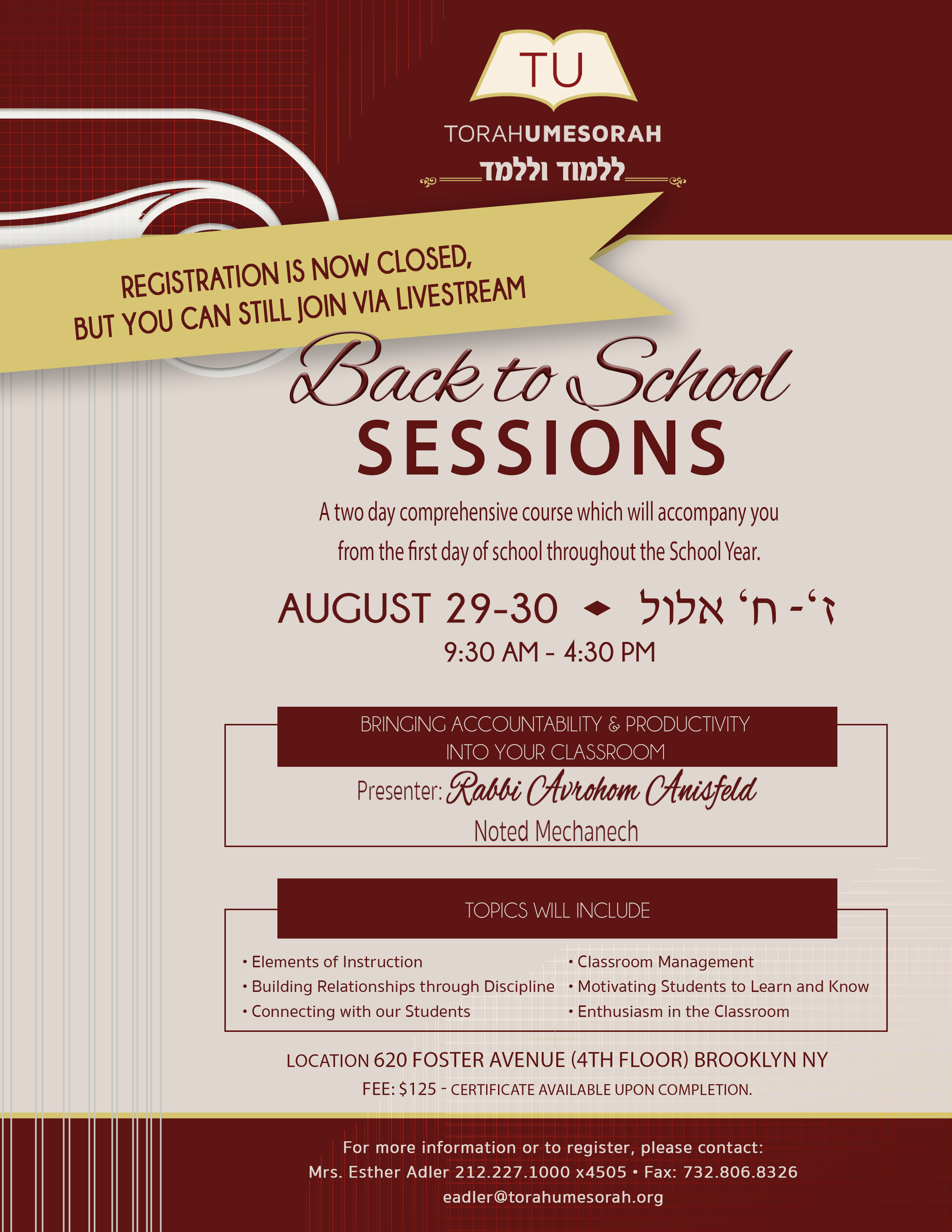 Back to School Sessions for Rebbeim (BROOKLYN)